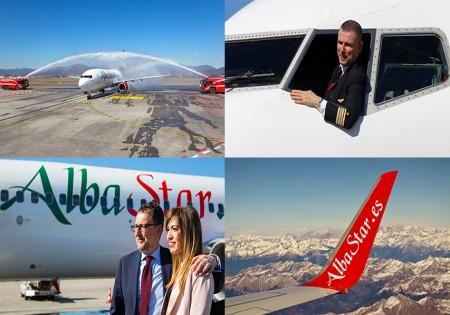 BATTESIMO DELL'ARIA  DEL NUOVO BOEING 737 DI ALBASTAR <br>PRENDE IL VOLO IL NUOVO AEREO DEDICATO A PINO D'URSO